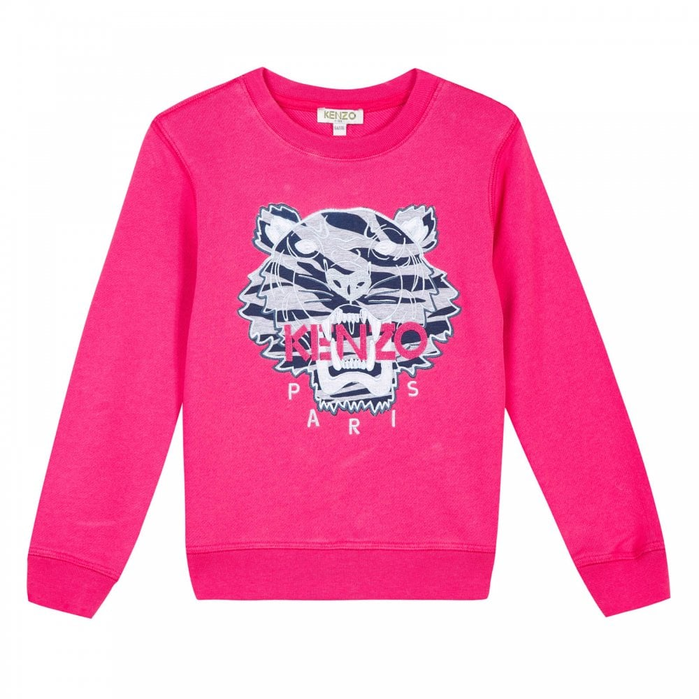 f190c55a7 Kenzo Kids Juniors Girls Embroidered Tiger Stripes Sweatshirt (Fuchsia)