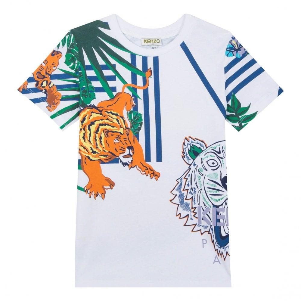 27931a7dbcdf Kenzo Kids Juniors JB Faron Hawaii Jungle Tiger Hunt T-Shirt (White ...