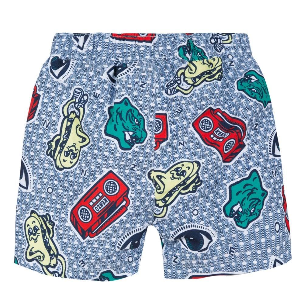 ca1e76e17aef2 Kenzo Kids Juniors JB Field Swim Shorts (White / Blue) - Kids from ...