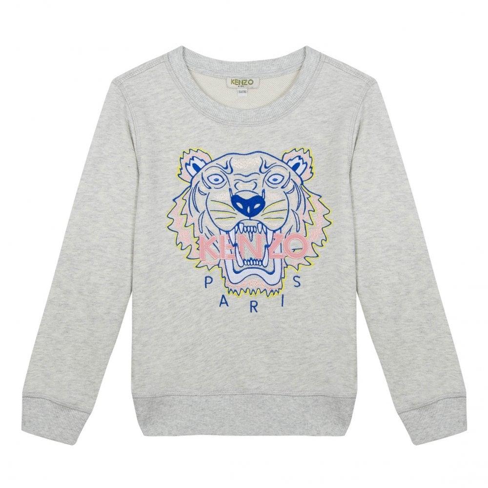 d8f578039b Kenzo Kids Juniors JG 5 Embroidered Tiger Sweatshirt (Grey) - Kids ...