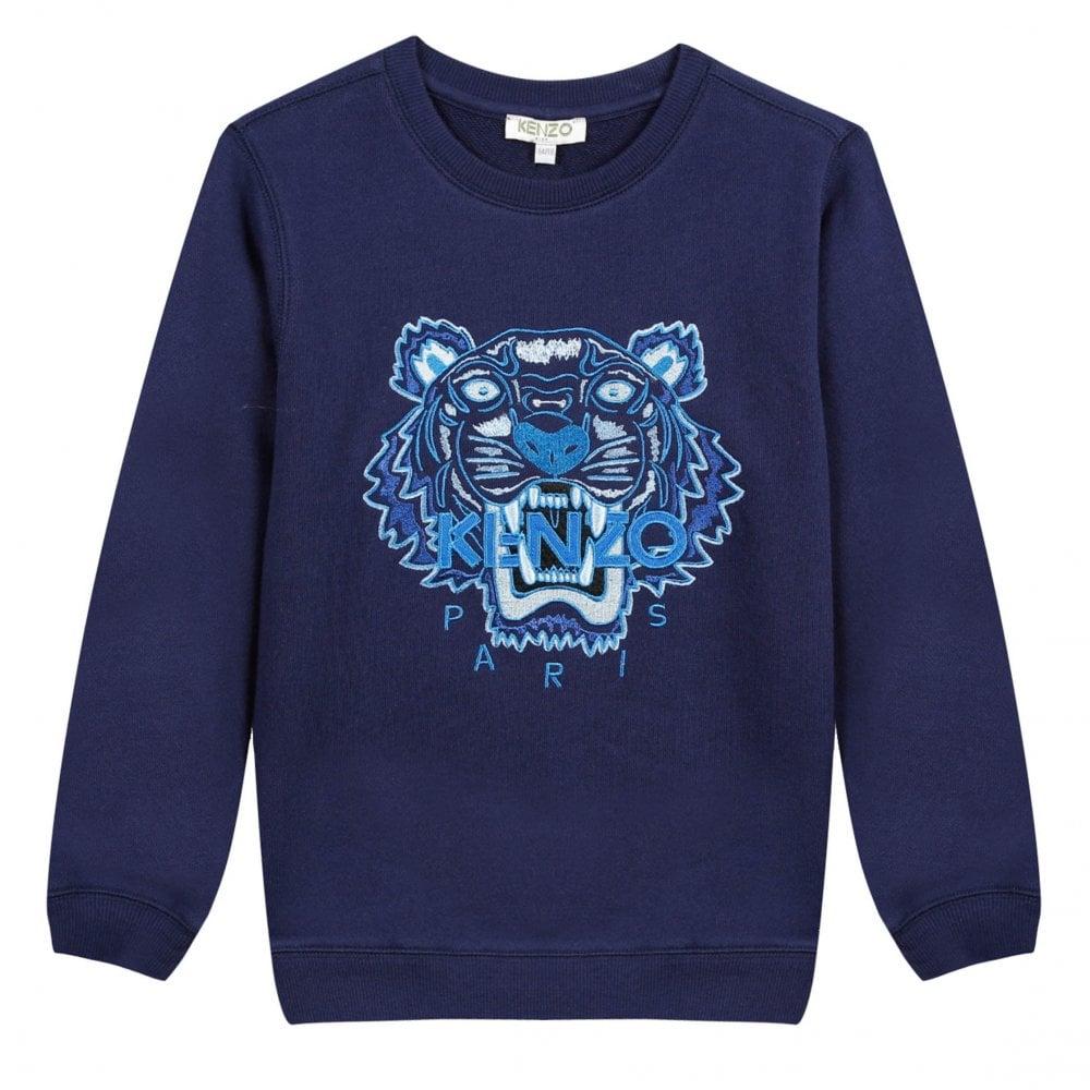 d1e922124ebb5 Kenzo Kids Juniors JG Embroidered Tiger Per 2 Sweatshirt (Navy ...