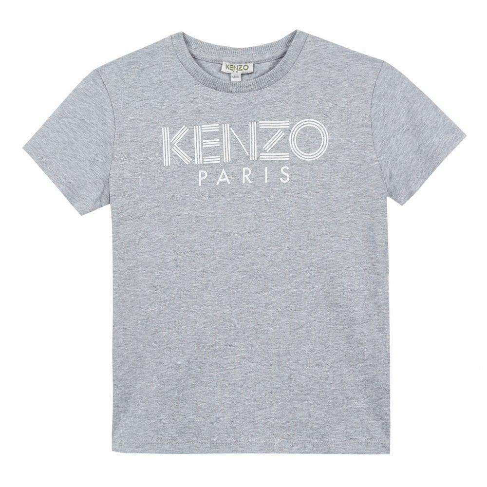 1037b191d8724 Kenzo Kids Juniors Logo 2 Chest Print T-Shirt (Grey) - Kids from ...