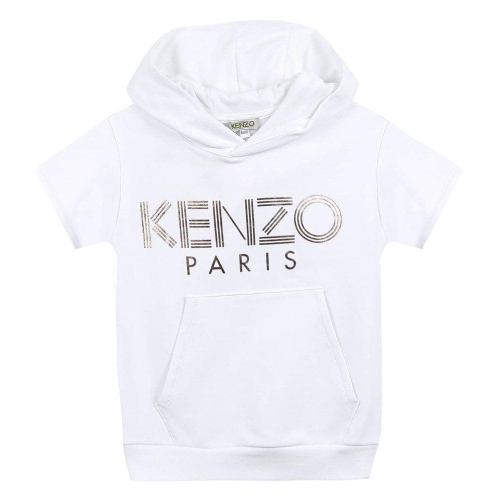 11a02f21 Kenzo Kids Juniors Sport JG 6 Logo Hooded Sweatshirt (White) - Kids ...