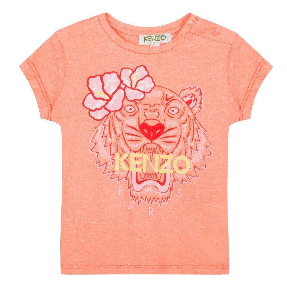 57826e73 Kenzo Kids Juniors Tiger Face & Flower T-Shirt (Apricot) - Kids from ...