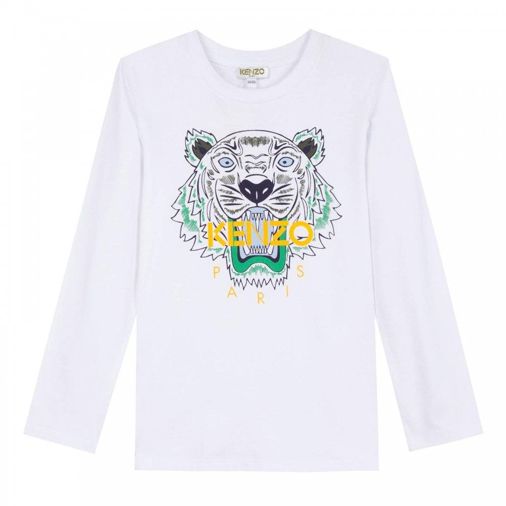 f3ade7b8 Kenzo Kids Juniors Tiger Face Print JB 2 T-Shirt (White) - Kids from ...