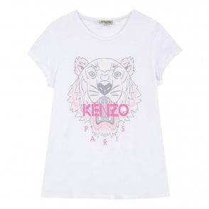 be9f987e5 Kenzo Kids Juniors Tiger Face Print T-Shirt (White) - Kids from ...