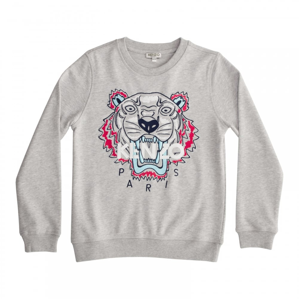 a93bc8fb Kenzo Kids Juniors Tiger Face Print Sweater (Grey) - Kids from Loofes UK