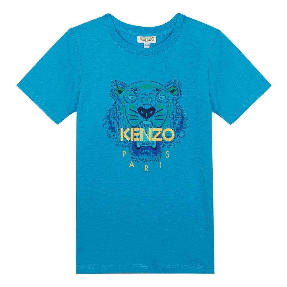 44cf37f9 Kenzo Kids Juniors Tiger Face Print T-Shirt (Blue) - Kids from Loofes UK
