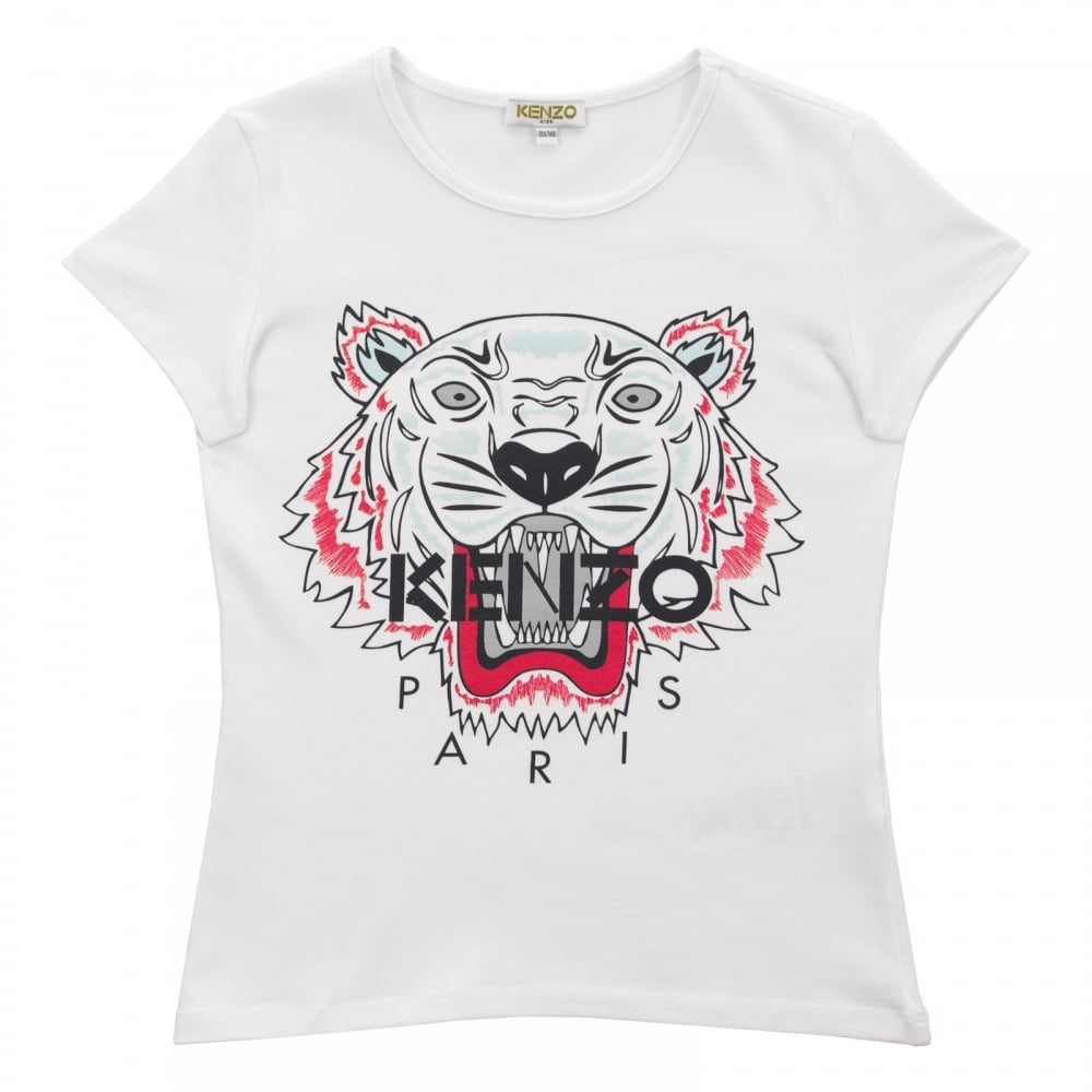 55ab8fdb010 Kenzo Kids Juniors Tiger Face Print T-Shirt (White) - Kids from ...