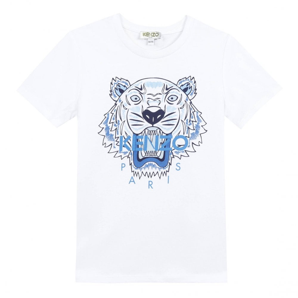 835f0f7a0 Kenzo Kids Juniors Tiger Face Print T-Shirt (White) - Kids from ...