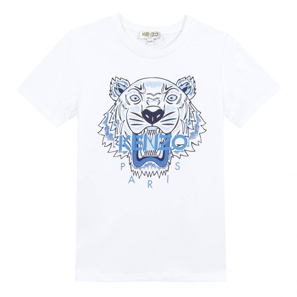 Kenzo Kids Juniors Tiger Face Print T-Shirt (White) - Kids from ... ce394a4e6