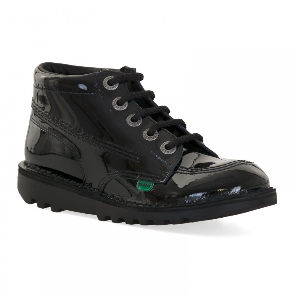 Youths Black Leather Shoes Boots