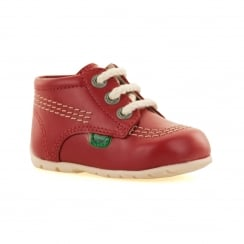 Kickers Infants Kick Hi Patent Boots (Red)