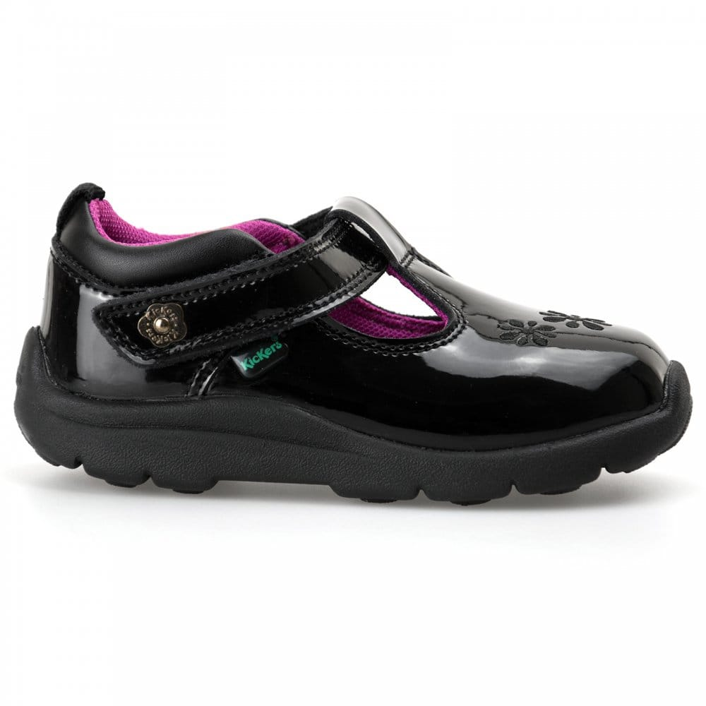 kickers kickers infants moakie patent t bar shoes black