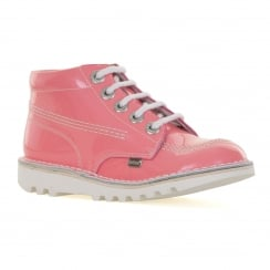 Kickers Juniors Kick Hi Patent Boots (Light Pink)