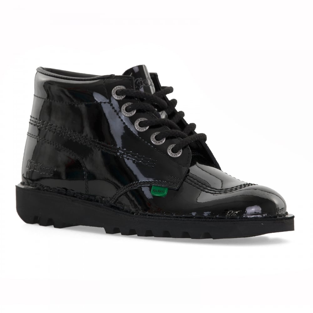 Kickers Womens Kick Hi Patent Boots (Black)