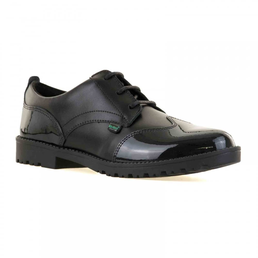Model Home Kickers Womens Black Kick T Patent Shoes