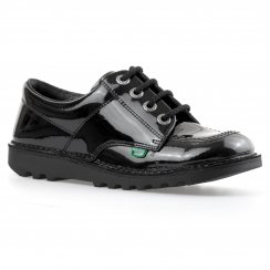 Kickers Youths Low Core Patent Shoes (Black)
