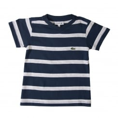 Lacoste Juniors Jersey Stripe T-Shirt (Navy/Grey)