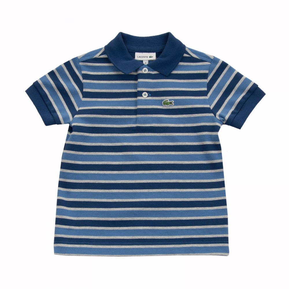 ce69f7065 Lacoste Juniors Stripe Polo Shirt (Blue) - Kids from Loofes UK