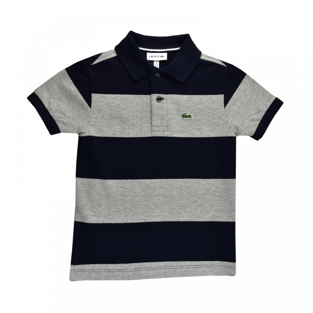 3666ebfa5 Lacoste Juniors Stripe Polo Shirt (Navy   Grey) - Kids from Loofes UK