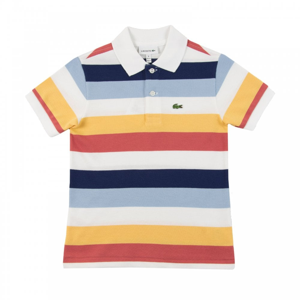 221f8b5da ... Lacoste Juniors Stripe Polo Shirt White Navy Kids from Loofes UK