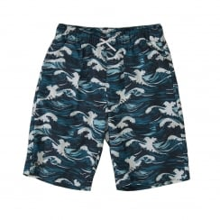 Lacoste Juniors Wave Print Shorts (Navy)