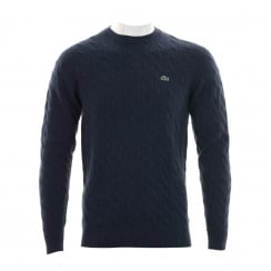 Lacoste Mens AH2995 Crew Neck Cable Knit Sweater (Blue)