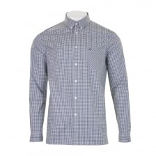 Lacoste Mens Check Long Sleeve Shirt (Navy/White)
