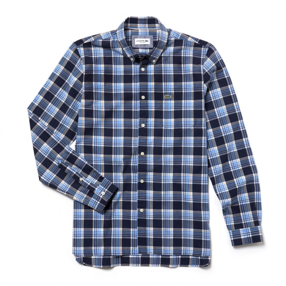 7e0340cf4 Lacoste Mens Check Shirt (Navy   Blue) - Mens from Loofes UK