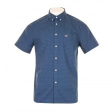 Lacoste Mens Check Short Sleeve Shirt (Blue)