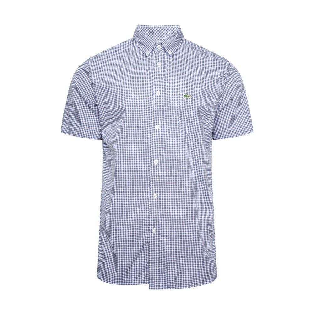 0283334cad1 Lacoste Mens Check Short Sleeve Shirt (Blue   White) - Mens from ...