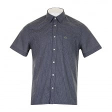 Lacoste Mens Check Short Sleeve Shirt (Navy)