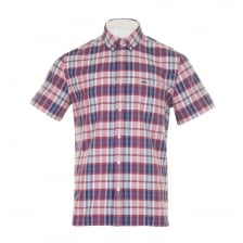 Lacoste Mens Check Short Sleeve Shirt (Red/Blue)