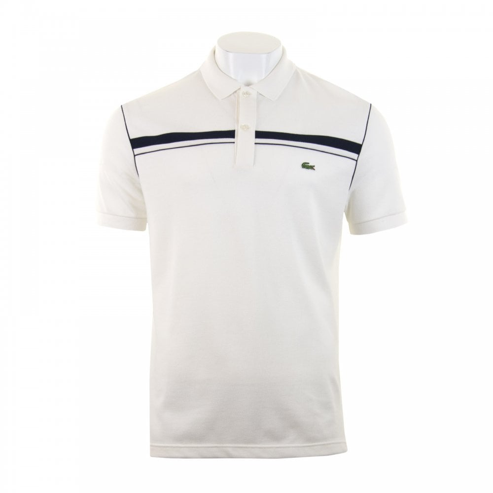 18e4bd5a Lacoste Mens Chest Stripe Polo Shirt (Ecru) - Mens from Loofes UK