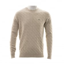 Lacoste Mens Crew Neck Cable Knit Sweater (Beige)