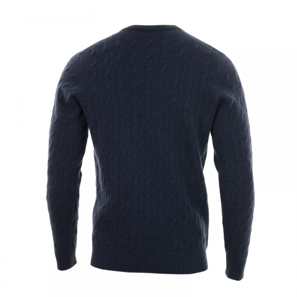 Lacoste Mens Crew Neck Cable Knit Sweater (Blue) - Mens from Loofes UK