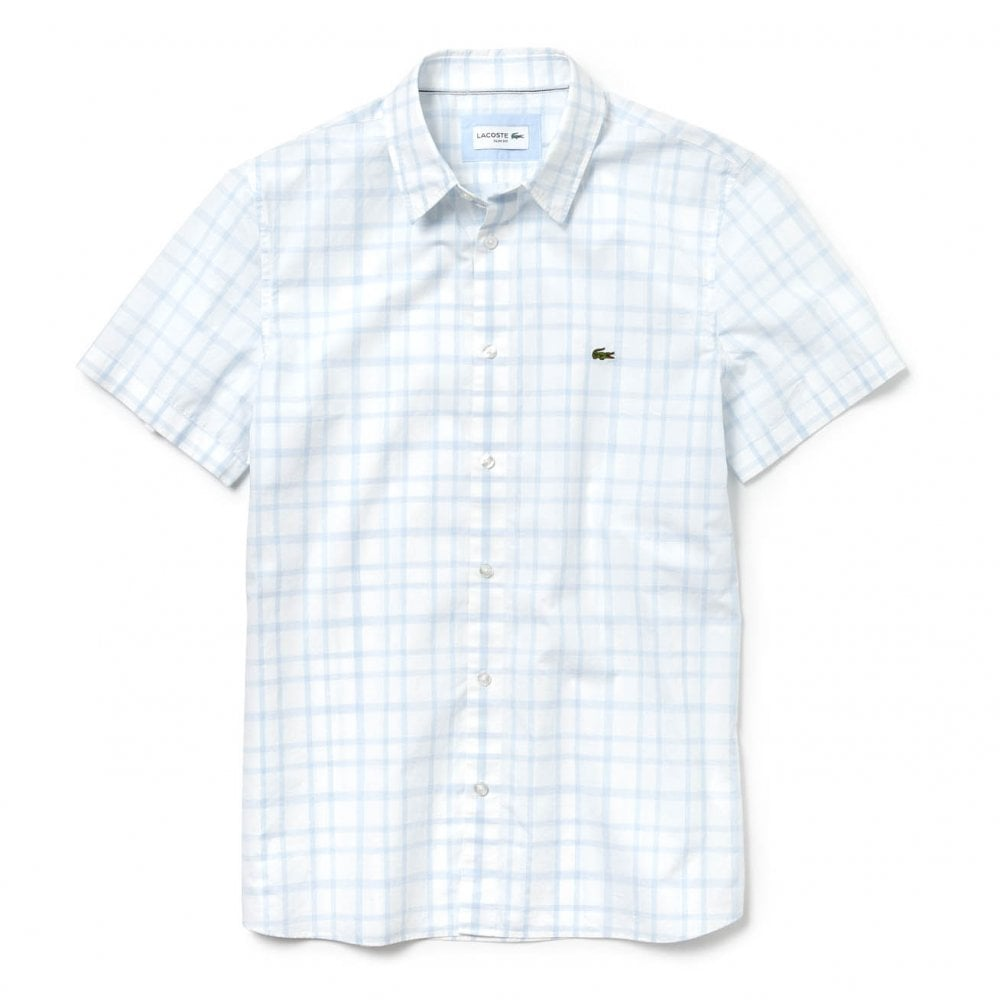 1f48034bf Lacoste Mens Large Check Short Sleeve Shirt (Blue   White) - Mens ...