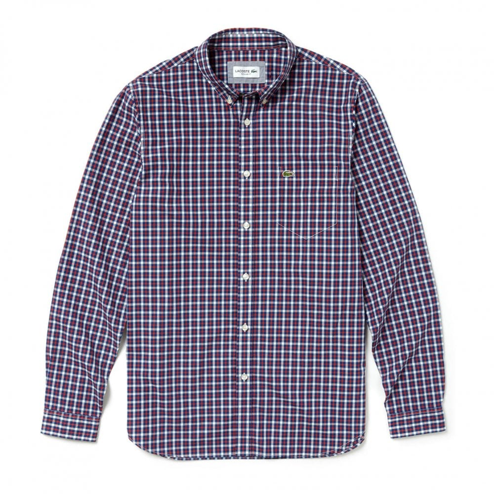daa371b5a Lacoste Mens Long Sleeve Check Shirt (Blue   Red) - Mens from Loofes UK