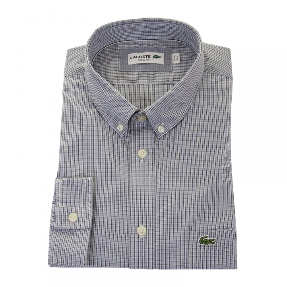 35a2a456fb31d Lacoste Mens Long Sleeve Check Shirt (Grey) - Mens from Loofes UK