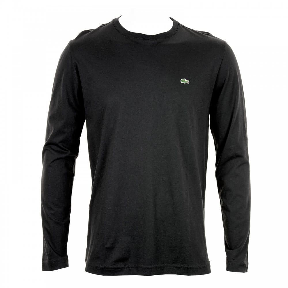 Lacoste Mens Long Sleeve Crew Neck T Shirt Black Mens
