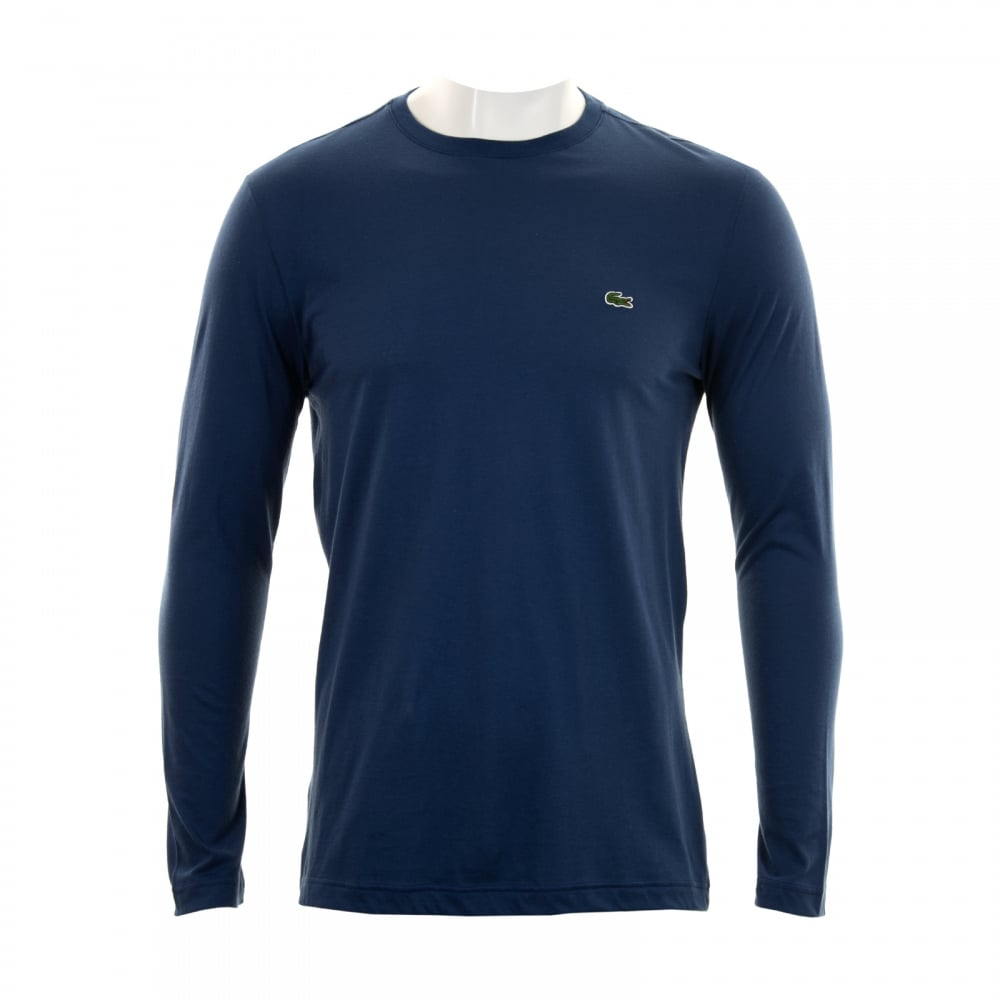 Lacoste Mens Long Sleeve Crew Neck T Shirt Blue Mens