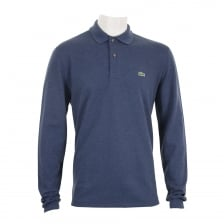Lacoste Mens Long Sleeve Plain Polo Shirt (Blue)