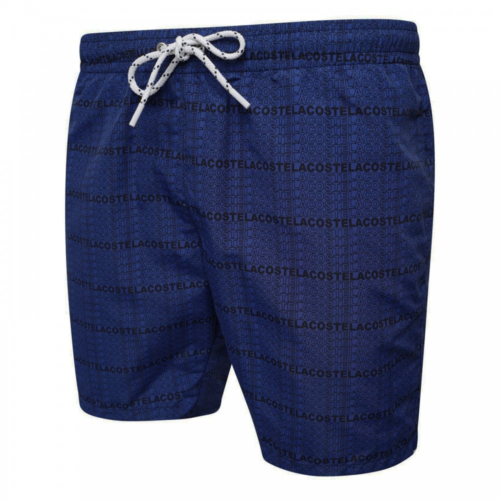 67fcafd82c Lacoste Mens Multi Logo Swim Shorts (Blue) - Mens from Loofes UK