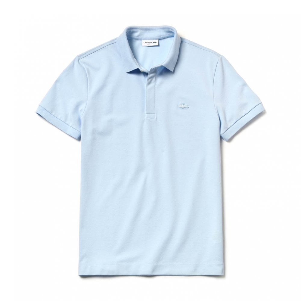 38fda91a58ca Lacoste Mens Paris Concealed Button Polo Shirt (Light Blue) - Mens ...