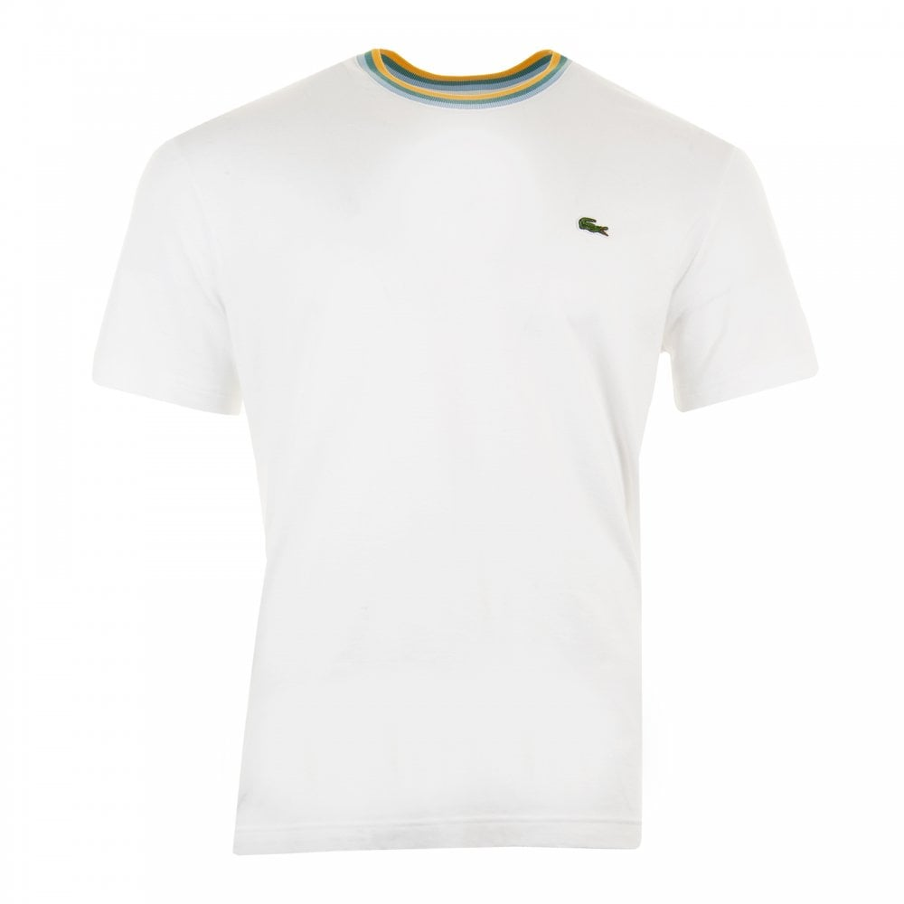 bf6cf9bfa Lacoste Mens Piped Neck T-Shirt (White) - Mens from Loofes UK