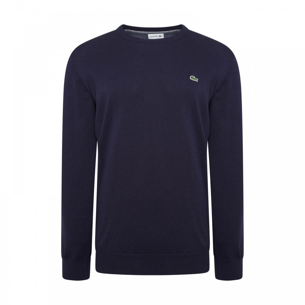 404d8e8f3d Lacoste Mens Plain Crew Knitted Sweatshirt (Navy) - Mens from Loofes UK