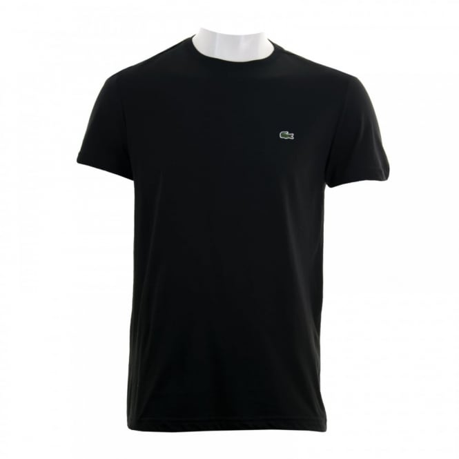 Lacoste Mens Plain Crew Neck T Shirt Black Mens From