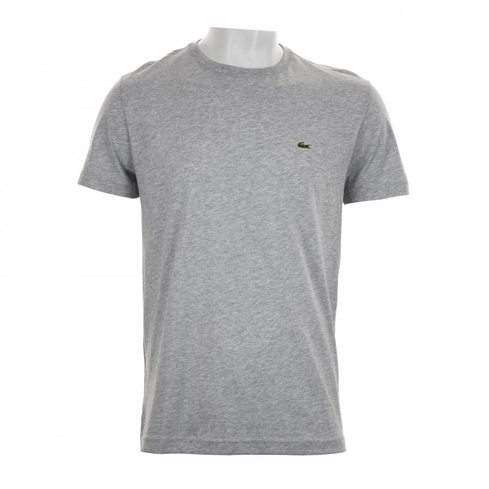 Lacoste Mens Plain Crew Neck T Shirt Grey Mens From