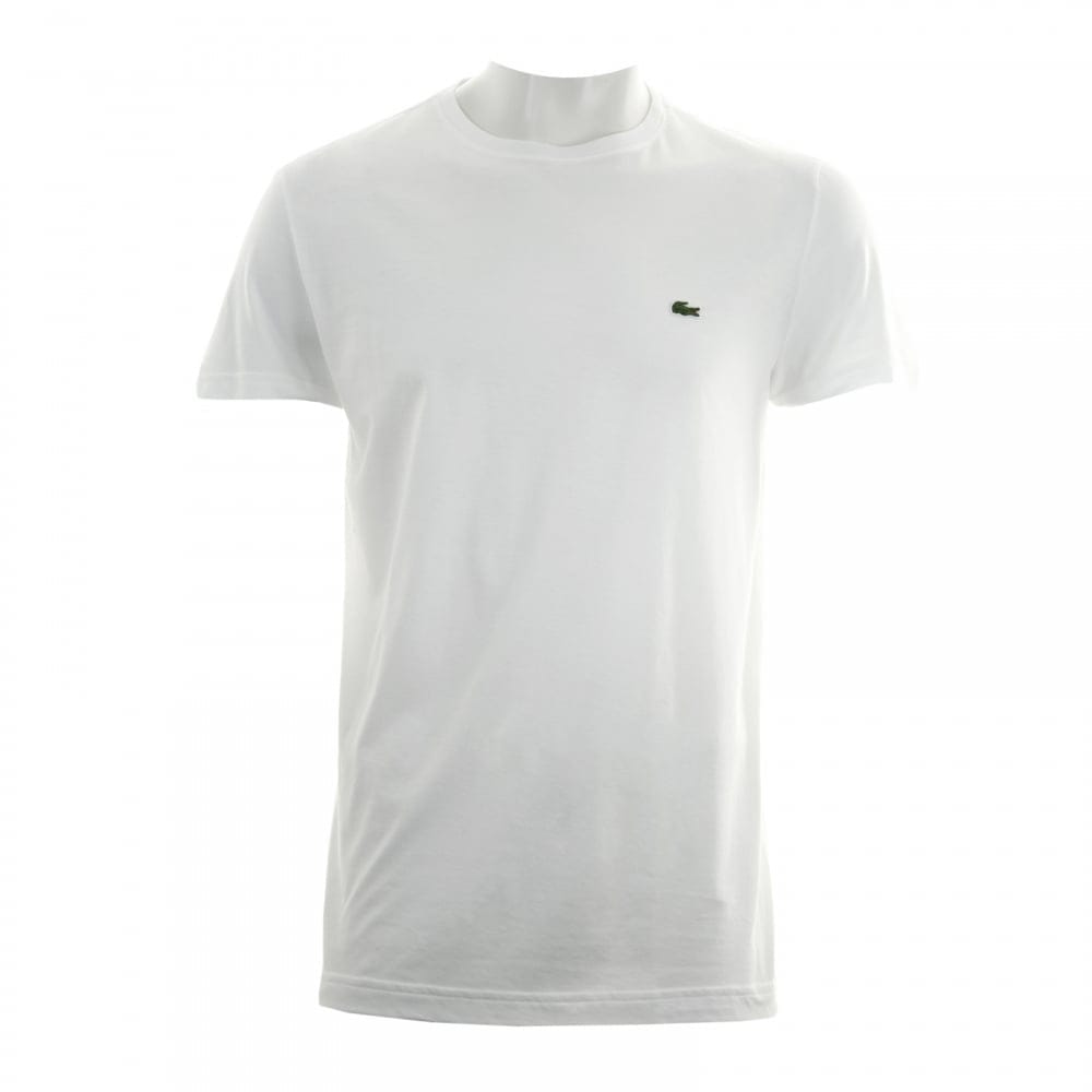 Lacoste Mens Plain Crew Neck T Shirt White Mens From